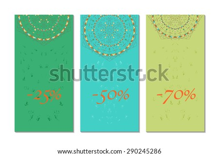 Vector illustration of banners set. Cards with ethnic ornament.