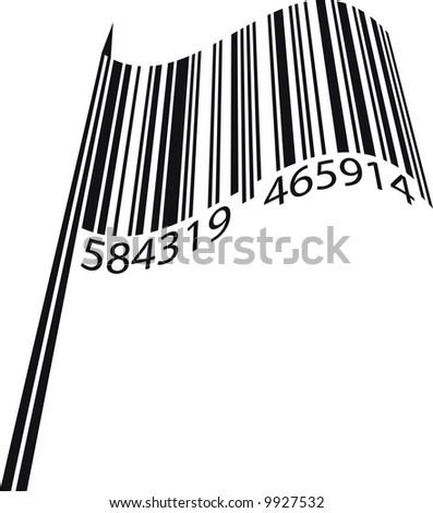 Vector illustration of bar code flag - stock vector