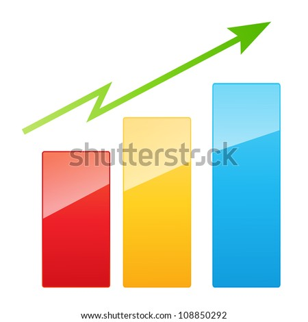 Vector illustration of bar graph with rising arrow - stock vector