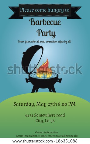 Vector illustration of  barbecue party flyer or invitation card in vintage style