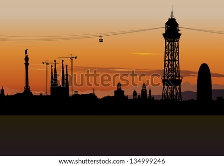 Vector illustration of Barcelona skyline silhouette with sunset sky - stock vector