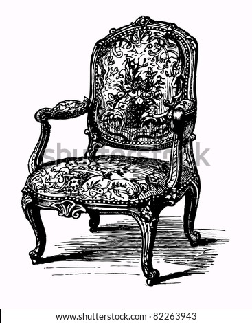 Vector illustration of baroque antique armchair, damask chair - stock vector