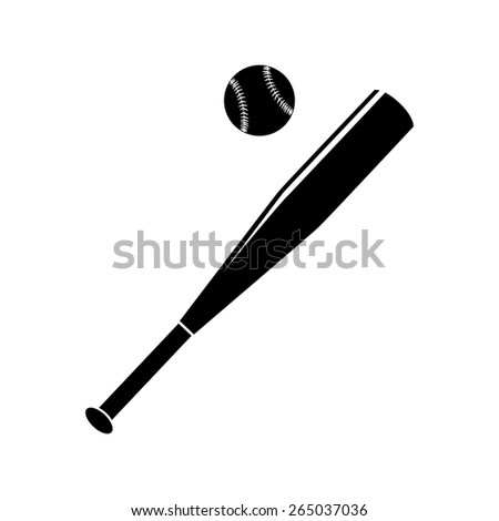 Vector illustration of baseball bat and ball. Black and white simple. - stock vector