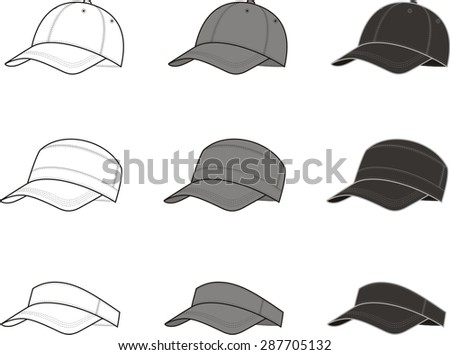 Vector illustration of baseball cap. Different colors: white, grey, black - stock vector