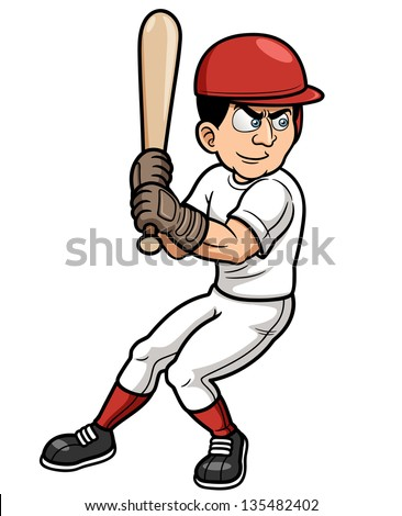 Vector illustration of Baseball Cartoon Player