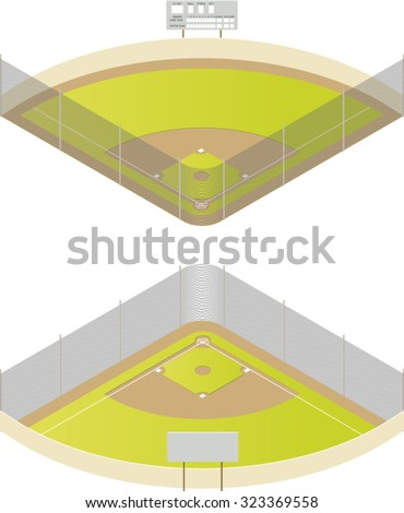 Vector Illustration Baseball Field Isometric Projection Stock Vector