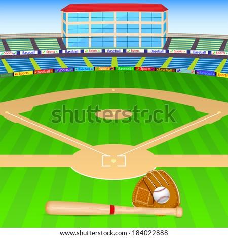 vector illustration baseball field bat ball stock vector hd royalty rh shutterstock com cartoon baseball field clip art Funny Baseball Cartoons