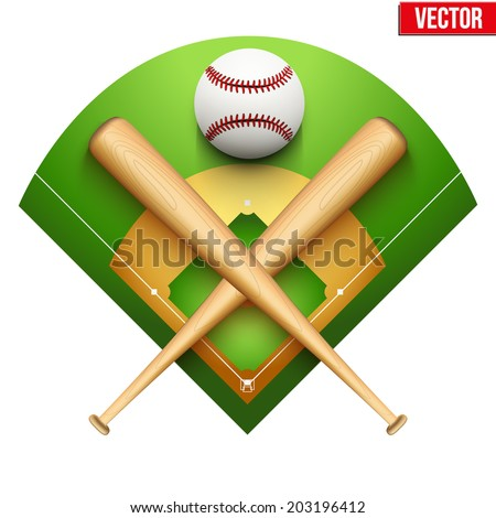 Vector illustration of baseball leather ball and wooden bats on field. Symbol of sports. Isolated on white background. - stock vector