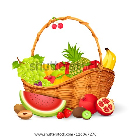 vector illustration of basket full of fresh fruit