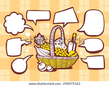 Vector illustration of basket with food with speech comics bubbles on yellow pattern background. Line art design for web, site, advertising, banner, poster, board and print. - stock vector