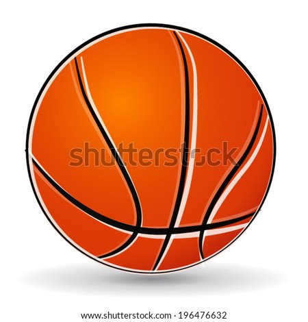 Vector illustration of basketball ball drawing on white background - stock vector
