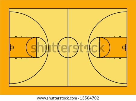 Vector illustration of basketball court. - stock vector