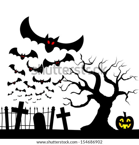 vector illustration of bats against the full moon - stock vector
