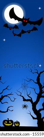 vector illustration of bats in a full moon night - stock vector
