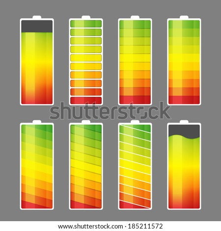 Vector illustration of battery energy meter icons. - stock vector