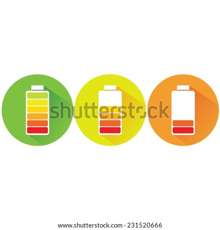 vector illustration of battery icon in colors isolated on white - stock vector