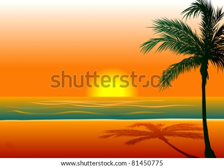Vector Illustration of Beach Background 1 during sunset/sunrise. - stock vector