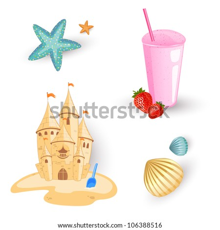 Vector Illustration of Beach Elements - stock vector