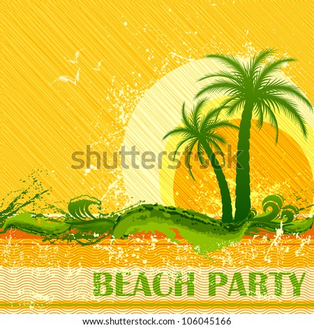 vector illustration of beach party poster with guitar and palm tree - stock vector