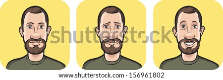 Vector illustration of bearded man face in three expressions - stock vector
