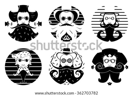 Vector illustration of bearded men in art nouveau style