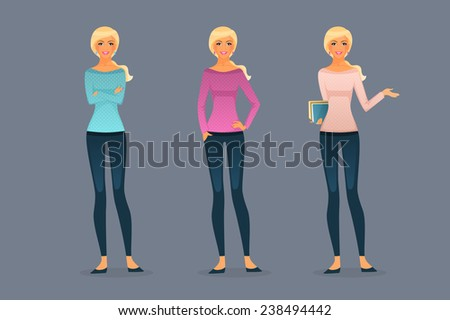 Vector illustration of Beautiful and young girls - stock vector