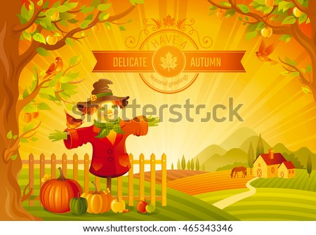 Vector illustration of beautiful autumn landscape on sunset background, modern style, elegant text lettering, copy space. Countryside fall farm thanksgiving symbol - scarecrow, pumpkin, apple tree