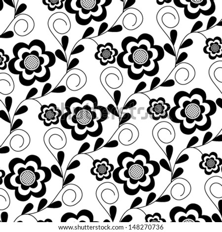Vector illustration of beautiful black seamless floral pattern on white background - stock vector