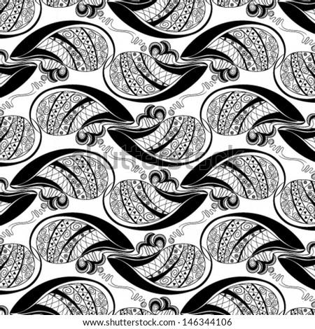 Vector illustration of beautiful black seamless geometrical monochrome pattern on white background - stock vector