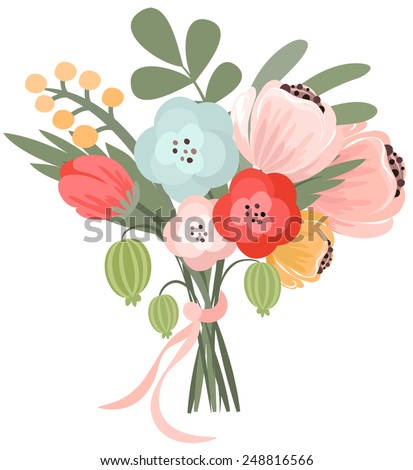 Vector illustration of beautiful bridal bouquet - stock vector