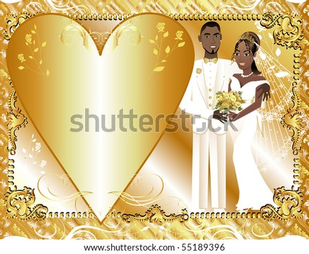 Vector Illustration of beautiful bride and groom on their wedding day. Can be used as a template for card or invitation. Wedding Couple 2. - stock vector