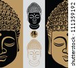 Vector illustration of beautiful buddha face isolated on white background. - stock vector