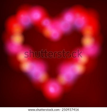 Vector illustration of beautiful glittering Valentine's Day heart made of lights - stock vector