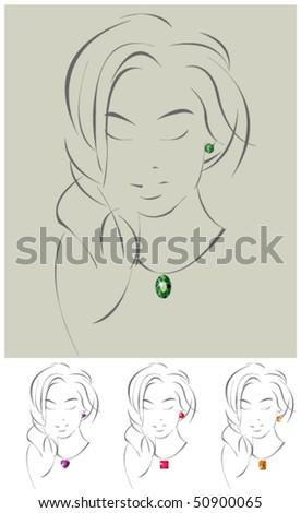 Vector illustration of beautiful jewelry model - stock vector