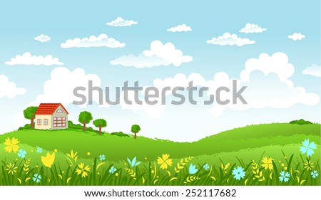 Vector illustration of beautiful landscape.  - stock vector