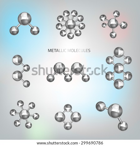 Vector illustration of beautiful metallic molecular objects in realistic style. Graphic logo template. Modern 3d scientific shape in silver tones for hi tech, digital, industrial or technical company. - stock vector