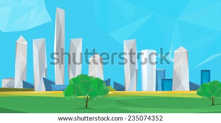Vector illustration of beautiful modern polygonal cityscape with scyscrapers - stock vector