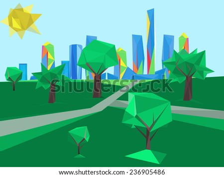 Vector illustration of beautiful modern polygonal landscape with park and skyscrapers - stock vector