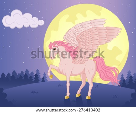 Vector illustration of beautiful pink Pegasus and big moon - stock vector