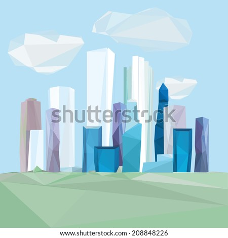 Vector illustration of beautiful polygonal cityscape - stock vector