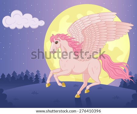 Vector illustration of beautiful running Pegasus and big moon - stock vector