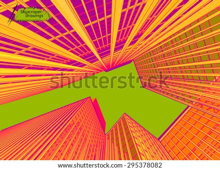 Vector illustration of beautiful skyscrapers. View from below. Abstract urban background for business brochure, leaflet, print and other modern and futuristic design. Green, orange and yellow colours. - stock vector