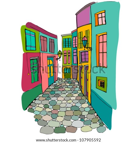 vector illustration of beautiful street - stock vector