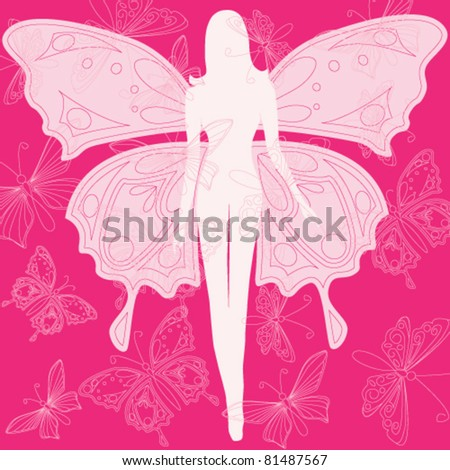 Vector illustration of beautiful summer butterfly woman - stock vector