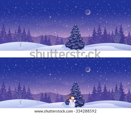 Vector illustration of beautiful winter forest banners, panoramic view - stock vector