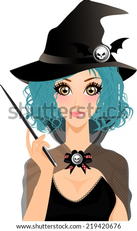 Vector illustration of Beautiful Witch Holding Magic Wand isolated on white Background.Halloween holidays concept. - stock vector