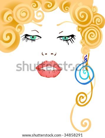 vector illustration of beautiful woman - stock vector