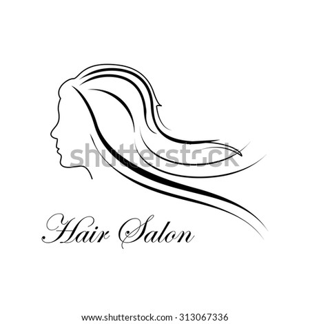 Vector illustration of beautiful woman logo for beauty salon, spa salon, firm or company. Girl with long hair - stock vector