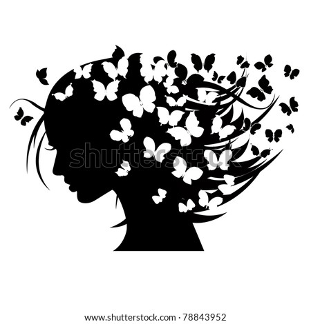 vector illustration of beautiful women  silhouettes with different butterflies in the head - stock vector