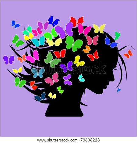 vector illustration of beautiful women silhouettes with different colorful butterflies in the head - stock vector